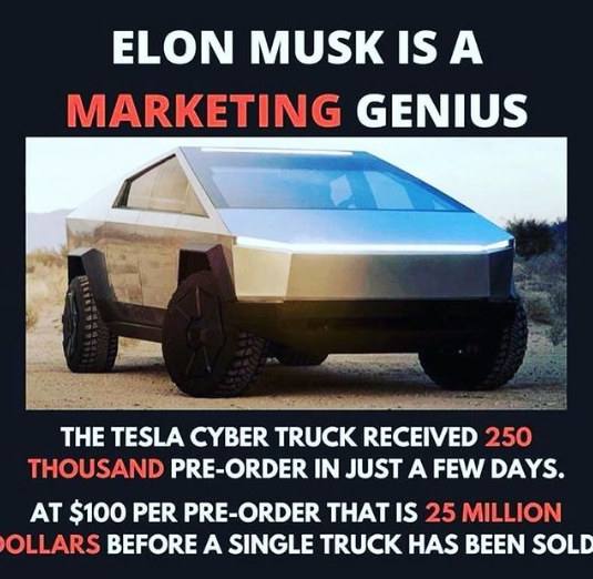 Elon musk truck price cyber truck_ 250,000 pre orders within 5 days